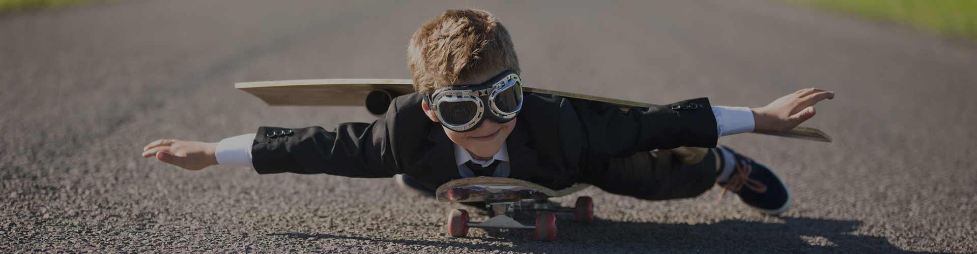 kid flying on a skateboard